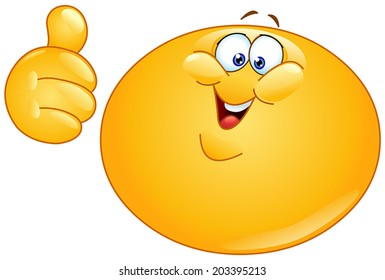 Fat emoticon showing thumb up