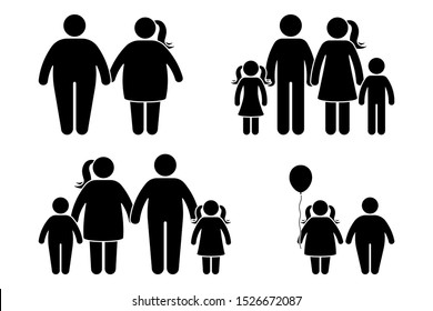 Fat family stick figure vector icon set. Obese human, children couple black and white flat style pictogram