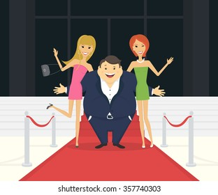 Fat famous man with his thin girlfriends on the red carpet as celebrities. Flat conceptual illustration of superstar and celebrity persons going to the luxury event