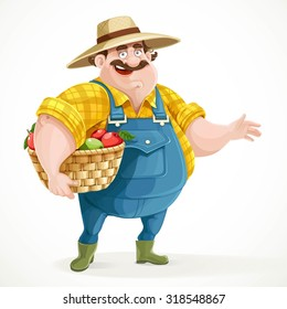 Fat farmer in overalls holding a basket of apples and shows the side isolated on white background