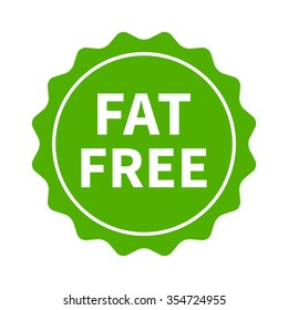 Fat free label, burst, seal or sticker flat vector icon