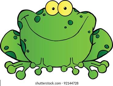 Fat Frog Cartoon Mascot Character.Vector illustration