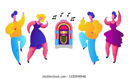 Fat girls and boys dancing to music from jukebox. Curvy man and woman dressed in trendy clothes. Self esteemed and self confident people having fun. Body positive concept. Colorful flat vector