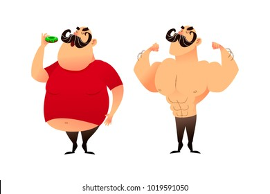 A fat guy and an athlete. Before and after. Doing sports and eating healthy concepts. A man with obesity is eating a donut. The strongman and the wrestler show their muscles. Successful weight loss