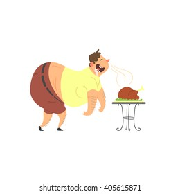 Fat Guy Drooling Over Chicken Flat Vector Cartoon Style Funny Illustration On White Background