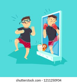 Fat guy in front of mirror pretend to be strong man with boxing gloves and his cat pretend to be lion. Funny fitness goals. Expectation vs reality.  Vector illustration