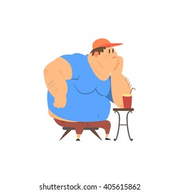 Fat Guy Sitting at The Coffee Table Flat Vector Cartoon Style Funny Illustration On White Background