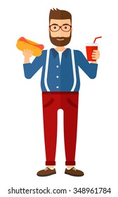 A fat hipster man holding a hotdog in one hand and soda in another vector flat design illustration isolated on white background. Vertical layout.