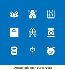 fat icon. 9 fat set with waist, weight, bitterballen and rib vector icons for web and mobile app