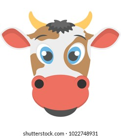 Fat icon of the face of a cow with brown spots