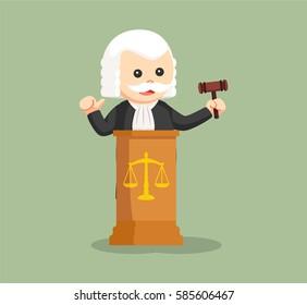 fat judge with podium