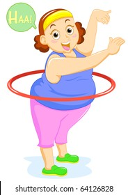 fat lady aerobics dance vector