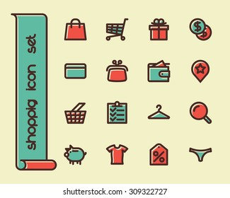 Fat Line Icon set for web and mobile. Modern minimalistic flat design elements of shopping process and retail service