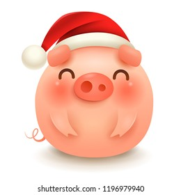 The Fat Little Pig with Christmas Santa's Red Cap. Happy New Year.