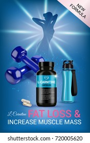 Fat loss L-Carnitine ads. Vector realistic illustration of cans with capsules and shaker. Vertical poster with product and sport equipment.