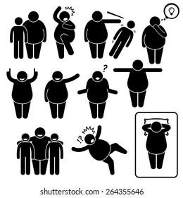 Fat Man Action Poses Postures Stick Figure Pictogram Icons