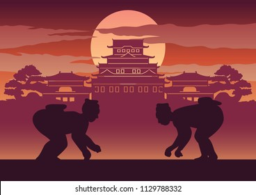 Fat man battle of Japan called Sumo ready to fight pose in front of palace and castle of Japanese style,silhouette design