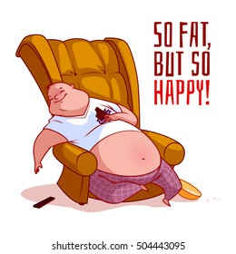 The fat man in a chair. So fat, but so happy! Vector illustration on a white background.