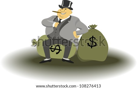 Fat man with cigar sitting on a bags full of money