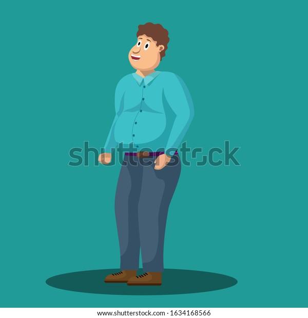 Fat Man Curly Hair Vector Illustration Stock Vector Royalty Free