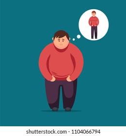 Fat man dreams of losing weight.