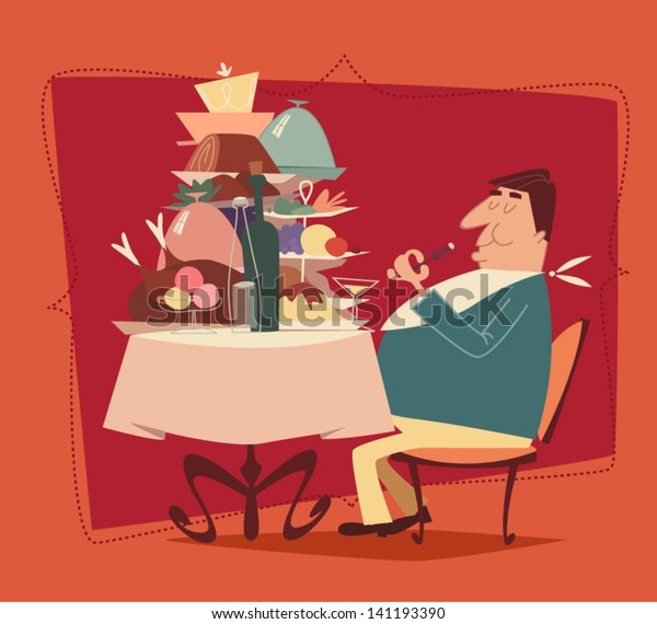 Fat man eating in a restaurant. Retro style vector illustration