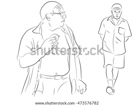 Fat Man Eating Strolling Elderly Man Stock Vector Royalty Free