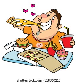 Fat Man Eating a Tray Full of Fast Food, illustration