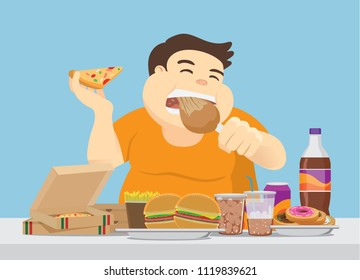 Fat man enjoy with a lot of fast food on the table. Illustration about overeating.