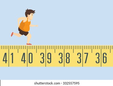 Fat man feeling tired to jogging on tape measure for healthy and lose weight. This is health care concept.
