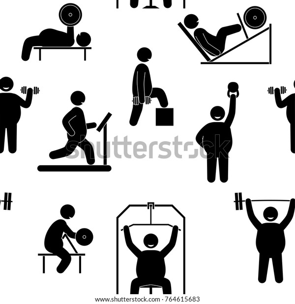 Fat Man Fitness Training Seamless Background Stock Vector Royalty Free 764615683