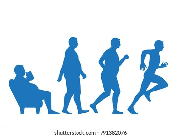 Fat man get out of sofa and change his body to slim shape in 4 step with run. This illustraion about exercise concept.