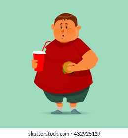 fat man with hamburger and soda, concept illustration, cartoon character, vector