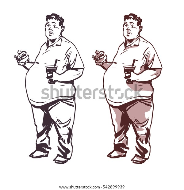 fat man with hamburger and soda, concept illustration, sketch style, vector illustration