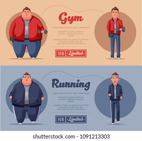 Fat man. Fat and health problems, strong sport in process. Running and activity lifestyle concept. Cartoon vector illustration. Never give up