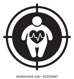 Fat man and heart disease. Vector illustration.