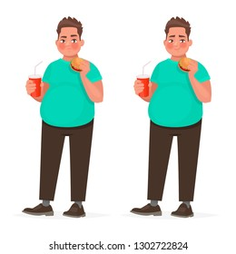Fat man holding a hamburger in his hand. Overweight guy with fast food. The concept of improper nutrition. Obesity. Vector illustration in cartoon style