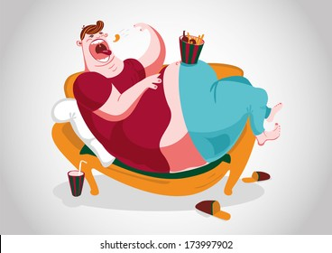 A fat man lying on the sofa and eating snacks.