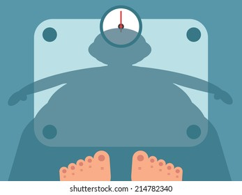 Fat man measuring weight on bathroom scale, vector illustration