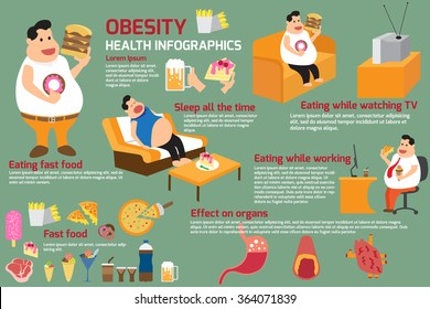 Fat man and obesity elements infographics. vector illustration.