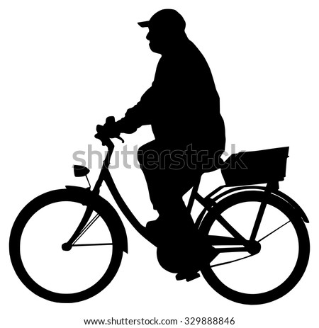 Fat Man On Bike Silhouette Stock Vector Royalty Free 329888846