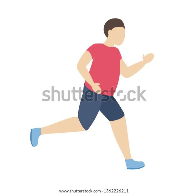 Fat Man Running Overweight Run Sport Stock Vector Royalty Free 1362226211