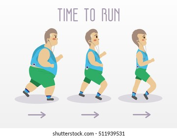 Fat man running to slim shape. Sport and fitness vector concept illustration.