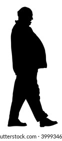 Fat man senior is worry about health,  vector silhouette isolated on white background. Overweight person trouble with walking. Big old man think about food calorie. mature person silhouette.