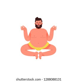 A fat man sits in a lotus pose in a loincloth. A fat young man sits in a pose of meditation. Vector illustration.