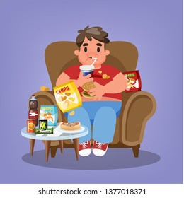 Fat man sitting in the armchair and eating fast food. Overweight guy holding burger and drink soda. Unhealthy lifestyle. Vector illustration in cartoon style