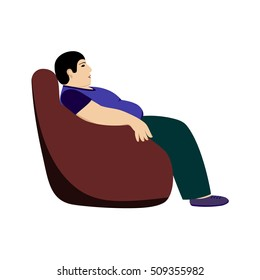 fat man sitting in a chair, isolated on a white background, a sedentary lifestyle