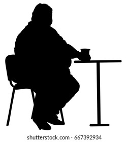 Fat man sitting and drinking in fast food restaurant silhouette. Worry about health. Overweight person trouble. Big boy think about food calorie vector. Difficulties in moving. Breathless sweaty man