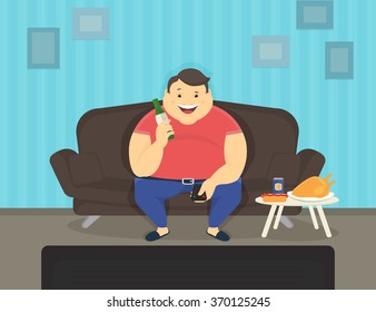 Fat man sitting at home on the sofa watching tv and drinking beer. Flat illustration of unhealthy lifestyle and resting at home