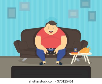 Fat man sitting at home on the sofa playing video games and eating. Flat illustration of e-sport and unhealthy lifestyle